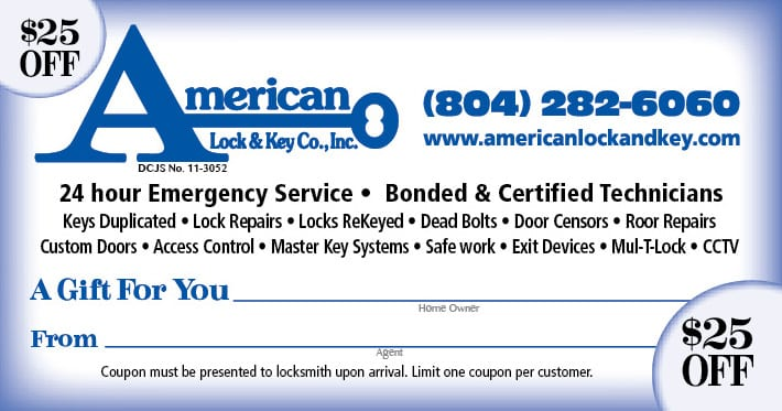 American Lock And Key $25 off Locksmith Coupon