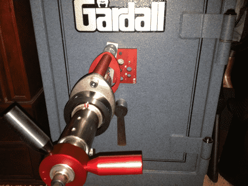 locksmith drilling open a Gardall safe