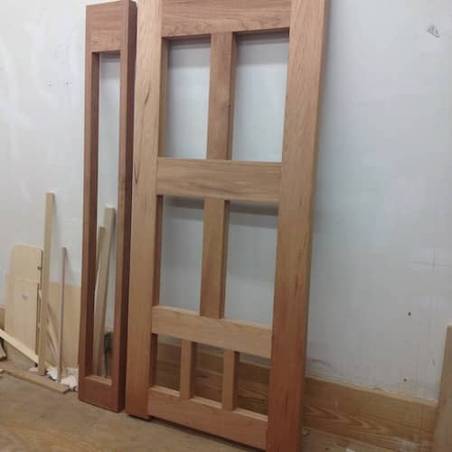 Custom built wooden door nearly finished